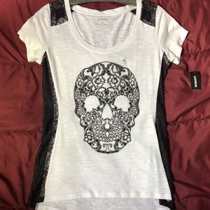 Embroider Skull w/lace Tee